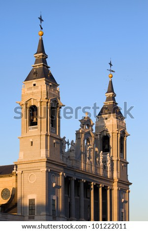 Almudena Cathedral (Cathedral of Saint Mary the Royal of La Almudena) bell towers in Madrid, Spain