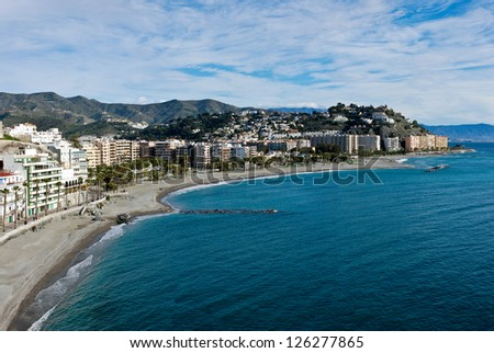 Almunecar Panorama View - stock photo