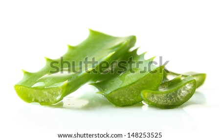 Aloe leaves with drops, isolated on white - stock photo