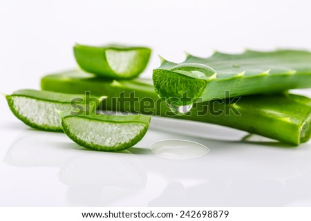Aloe sliced, isolated on a white background - stock photo