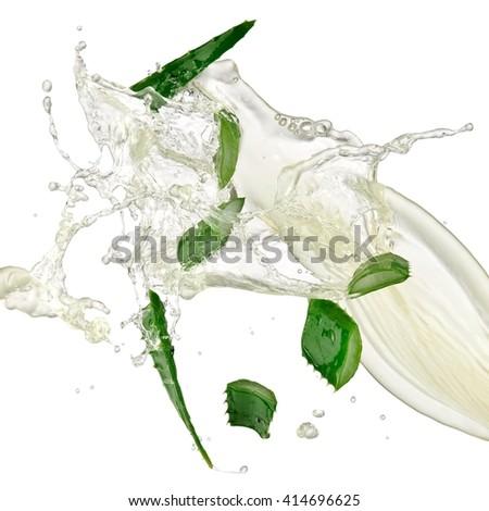 Aloe slices splash - stock photo
