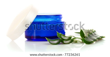 Aloe vera and cream isolated on white - stock photo