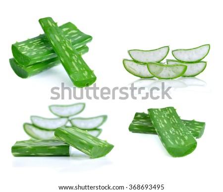 aloe vera fresh leaf isolated on white background. - stock photo