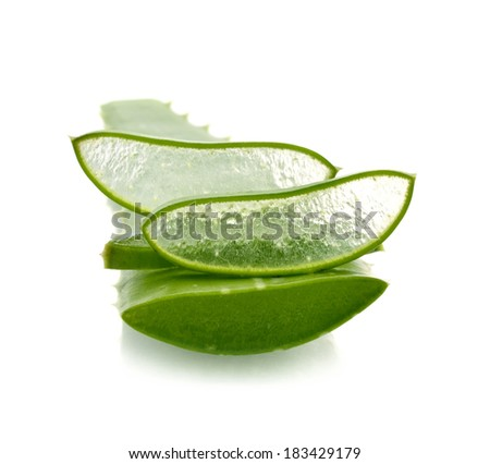 aloe vera fresh leaf. isolated over white - stock photo