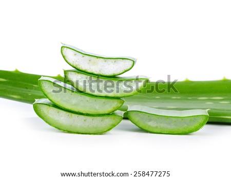 aloe vera fresh leaf. isolated over white - stock photo