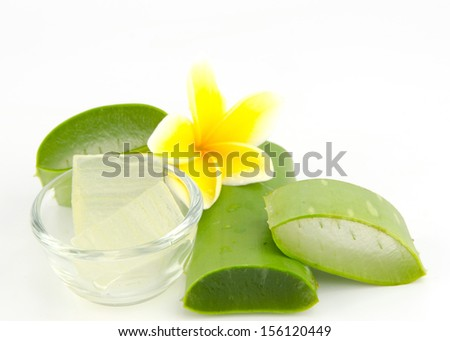 aloe vera leaves, cut into pieces, the shell casing and the meat is placed in a clear glass cup and a yellow frangipani laid all this rests on a white background. - stock photo