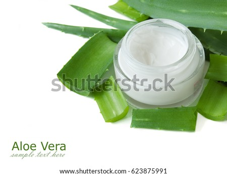 Aloe Vera plant and natural cream isolated on white background