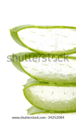 aloe vera sliced leaf - stock photo