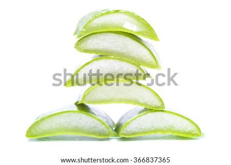 aloe vera slices on white background
