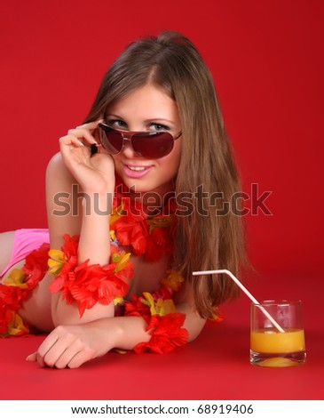 Aloha Bikini Girl - stock photo