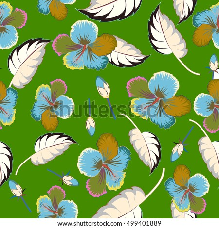 Aloha hawaiian t-shirt seamless pattern. Multicolored hibiscus pattern on green background.