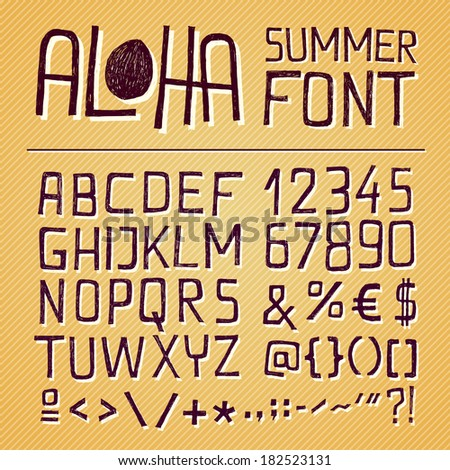 ALOHA SUMMER HAND DRAWN ALPHABET for seasonal posters or other works on vintage yellow background - bitmap - stock photo
