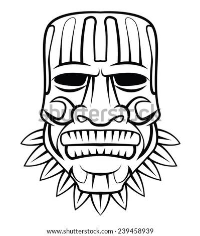 Aloha Wooden Black and White Mask - stock photo