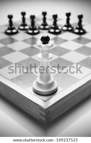 Alone against many enemies, symbol of difficult fight or struggle. - stock photo