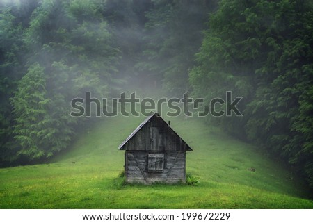 alone cabin in the woods - stock photo