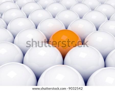 Alone 3d orange ball - stock photo