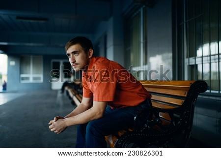 alone guy in city - stock photo