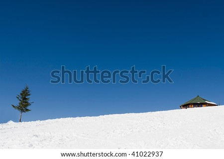 alone house in the winter landscape - stock photo