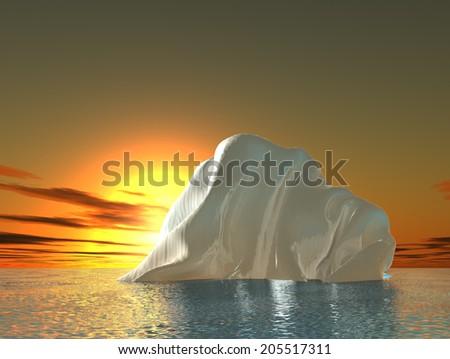 Alone  iceberg floats in ocean. 3d illustration - stock photo