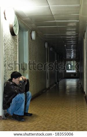 alone in the dark tunnel emo - stock photo