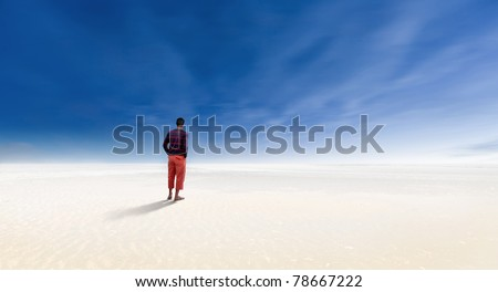 Alone in the desert - stock photo