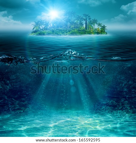 Alone island in ocean, abstract environmental backgrounds - stock photo