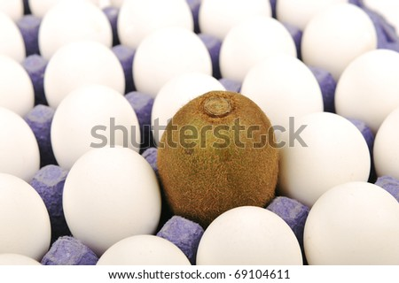 Alone kiwi, pretending to be an egg. White background. Unique concept, different thing. - stock photo