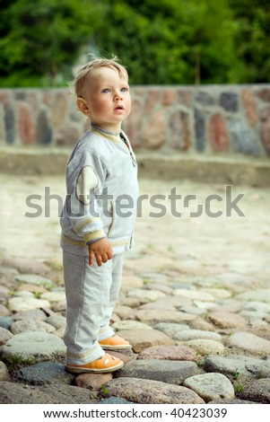 alone little boy - stock photo