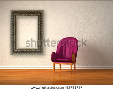 Alone luxurious chair with modern frame in minimalist interior - stock photo