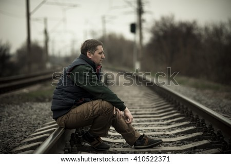 alone man - stock photo