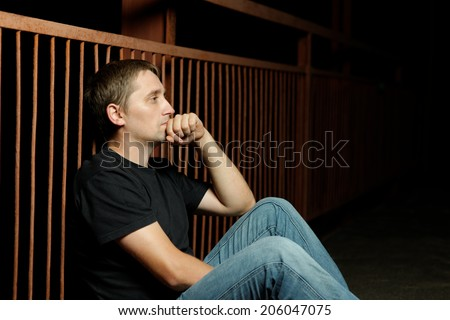 alone man. bad times - stock photo