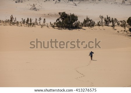 alone man in desert Australia - stock photo