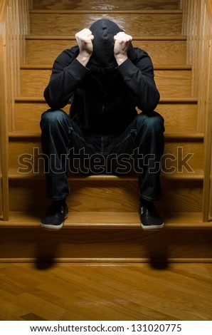 Alone on stairs - stock photo