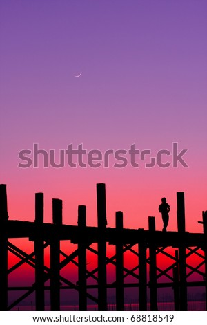 Alone On The Bridge - stock photo
