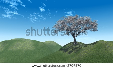 Alone tree and beautiful sky - 3d landscape scene.