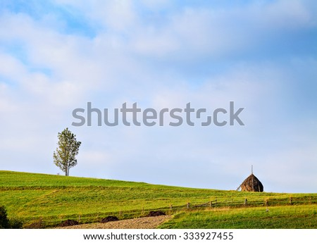 Alone tree and haystack on the green hill. Farmland with wooden fence and path. Blue sky on background - stock photo