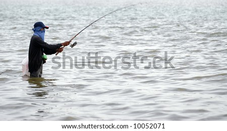 Alone while fishing in river