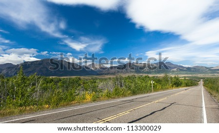 Along a highway in Southern Alberta - stock photo