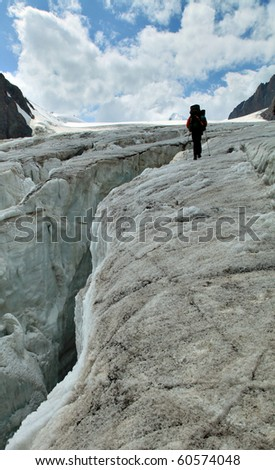 Along Crevasse - stock photo