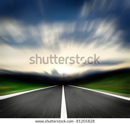 along high speed road and blue sky - stock photo