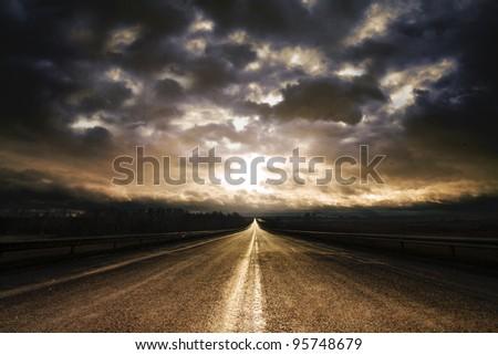Along Highway Sunrise - stock photo