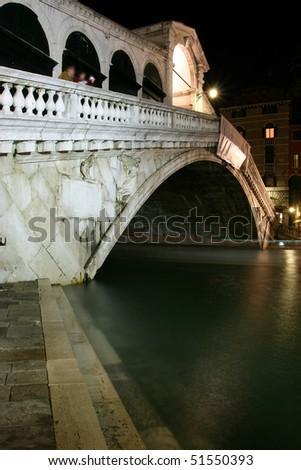 Along Rialto Bridge, Venice at Night - stock photo