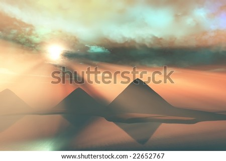 ALONG THE NILE - The Great Pyramids on the Giza Plateau in Egypt. - stock photo