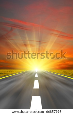 Along the road. Sunset - stock photo
