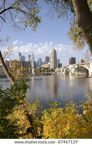 Along the shores of Mississippi River in Saint Anthony area of Minneapolis Minnesota - stock photo