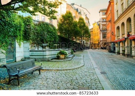 Along the streets of The Old Town (Gamla Stan) in Stockholm, Sweden - stock photo