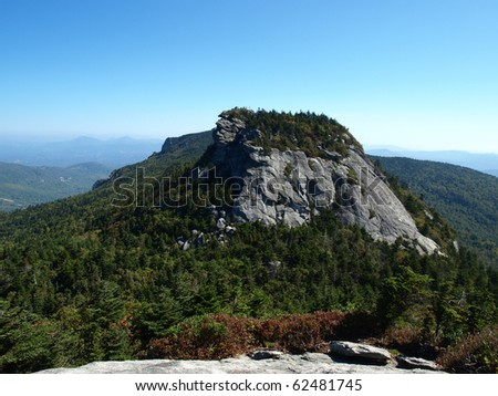 Along the trail at Grandfather mountain in North Carolina, view from McRea Peak - stock photo