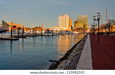 Along the water at the Inner Harbor, Baltimore, Maryland - stock photo