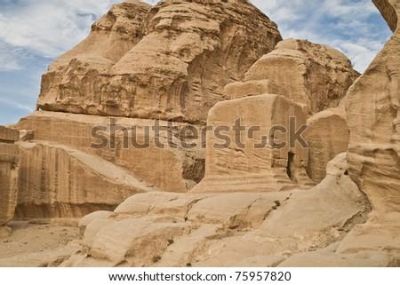 Along trail into ancient Petra, Jordan - stock photo