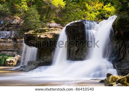 Alongside Upper Cataract Falls, an Indiana waterfall. - stock photo